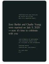 This is a black wedding invitation by Annie Clark called Chin-Chin with standard printing on signature in standard.