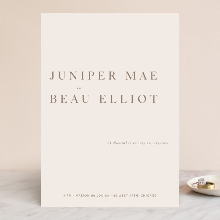 """Juniper"" - Wedding Invitations in Blush by Mere Paper."