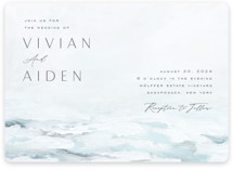 This is a blue wedding invitation by Nicoletta Savod called At Sea with standard printing on signature in standard.