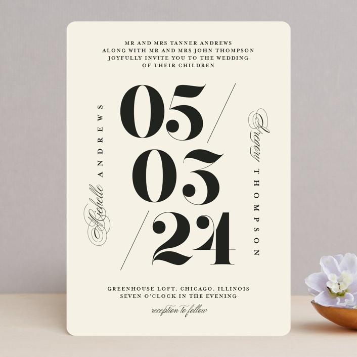 """Big Date"" - Wedding Invitations in Ivory by Anastasia Makarova."