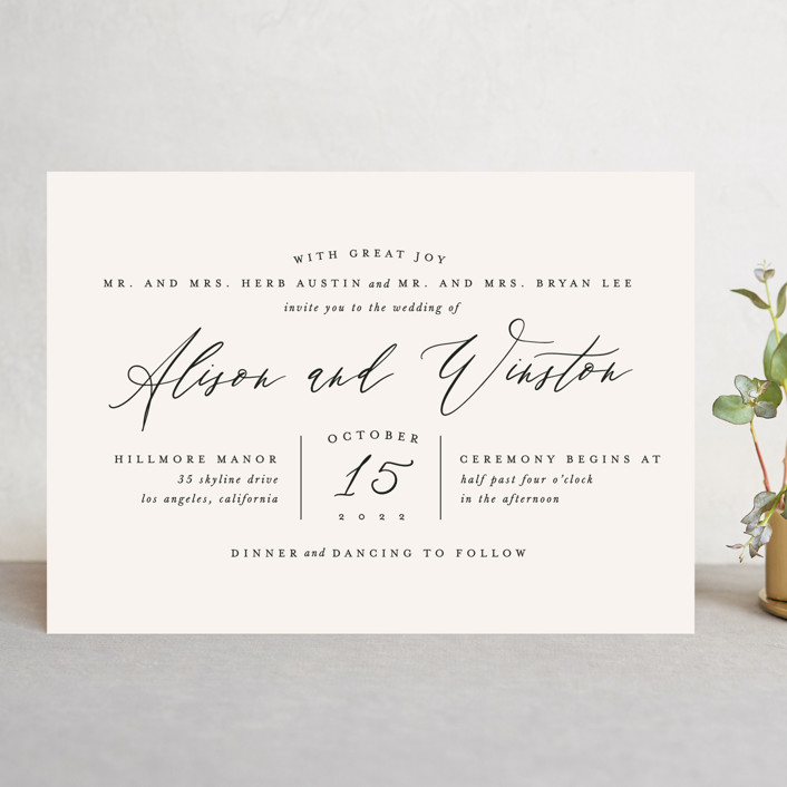 """Timeless"" - Wedding Invitations in Taupe by Leah Bisch."