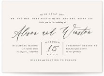 This is a beige wedding invitation by Leah Bisch called Timeless with standard printing on signature in standard.