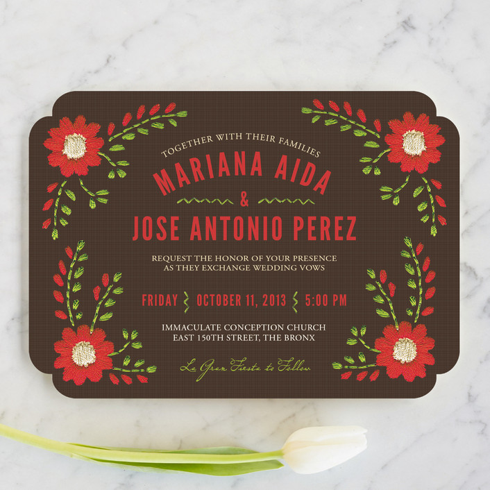 Mexican Ties Floral Botanical Wedding Invitations In Cocoa By Sandy
