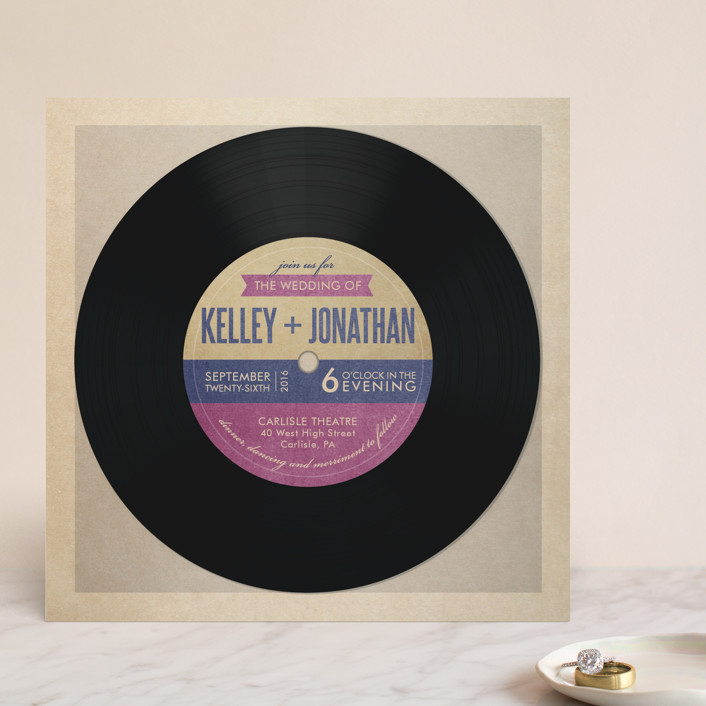 """Wedding Vinyl"" - Whimsical & Funny Wedding Invitations in Purple Jelly by Dawn Jasper."