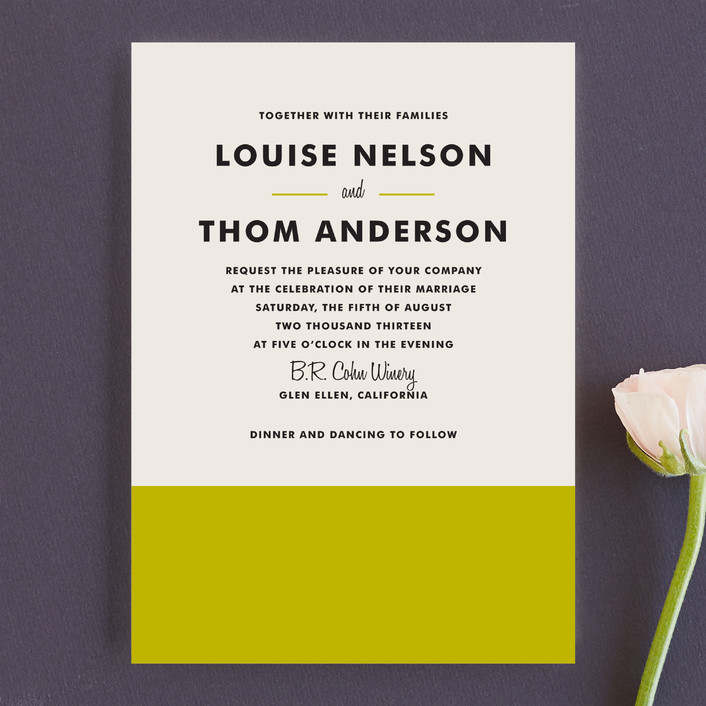 """""""Color Block"""" - Modern, Simple Wedding Invitations in Lime by Paper Dahlia."""