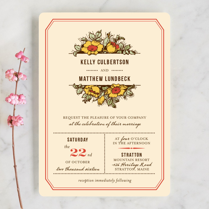"""""""Harvest Floral"""" - Vintage, Rustic Wedding Invitations in Poppy by Paper Dahlia."""