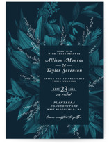 This is a blue wedding invitation by GeekInk Design called Moonlit Garden with standard printing on signature in standard.