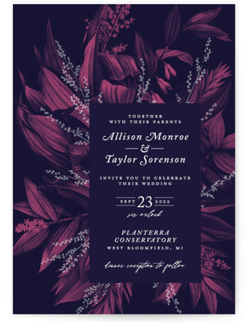 This is a portrait botanical, pink, purple Wedding Invitations by GeekInk Design called Moonlit Garden with Standard printing on Signature in Classic Flat Card format. Wedding Invite featuring vintage botanicals reminiscent of a moonlit garden.