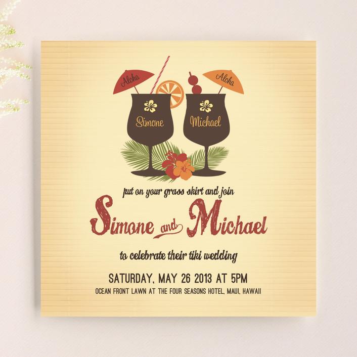 """Tiki Luau"" - Whimsical & Funny, Destination Wedding Invitations in Cherry by Designkandy."