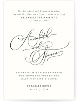 This is a black and white wedding invitation by Kimberly Morgan called Heirloom with standard printing on signature in standard.