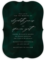 This is a green wedding invitation by Andrea Castek called emerald with standard printing on signature in standard.