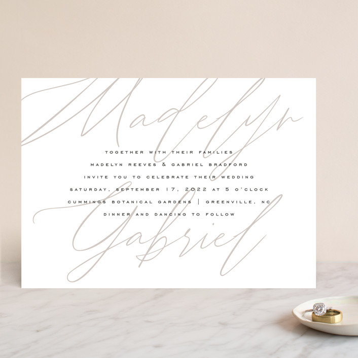 """Cummings"" - Wedding Invitations in Cotton by Amy Kross."