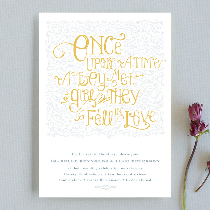 """""""Once Upon"""" - Bold typographic, Hand Drawn Wedding Invitations in Sunflower by Erin Pescetto."""