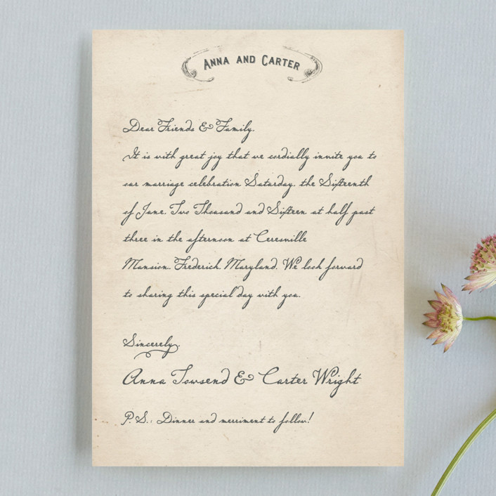 """Vintage Letter"" - Whimsical & Funny, Vintage Wedding Invitations in Parchment by Erin Pescetto."