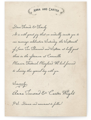 photo of Vintage Letter Wedding Invitations