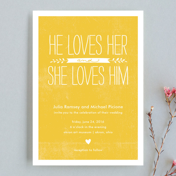 """""""Quite Simply"""" - Hand Drawn, Whimsical & Funny Wedding Invitations in Sunflower by Robin Ott."""