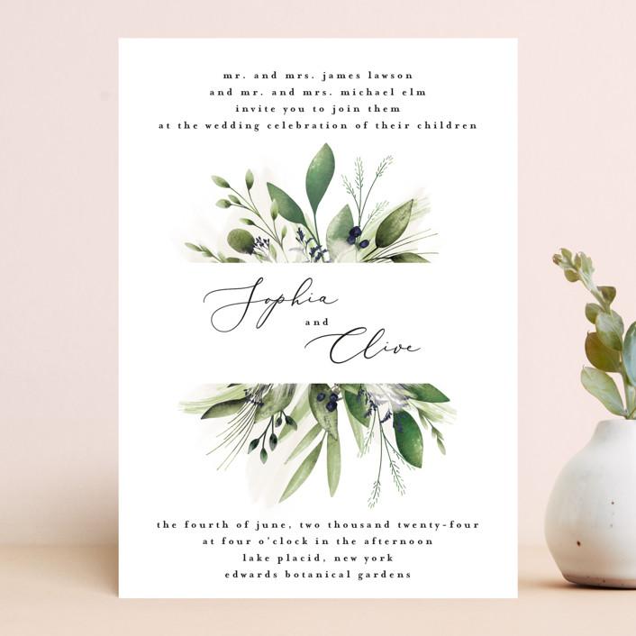 """Greenery Banner"" - Wedding Invitations in Navy by Susan Moyal."