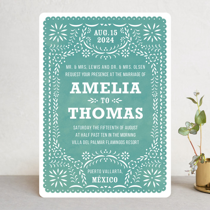 """Fiesta Folk Art"" - Wedding Invitations in Lagoon by root beer float."