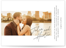 This is a black wedding invitation by Laura Hamm called Landscape with standard printing on signature in standard.