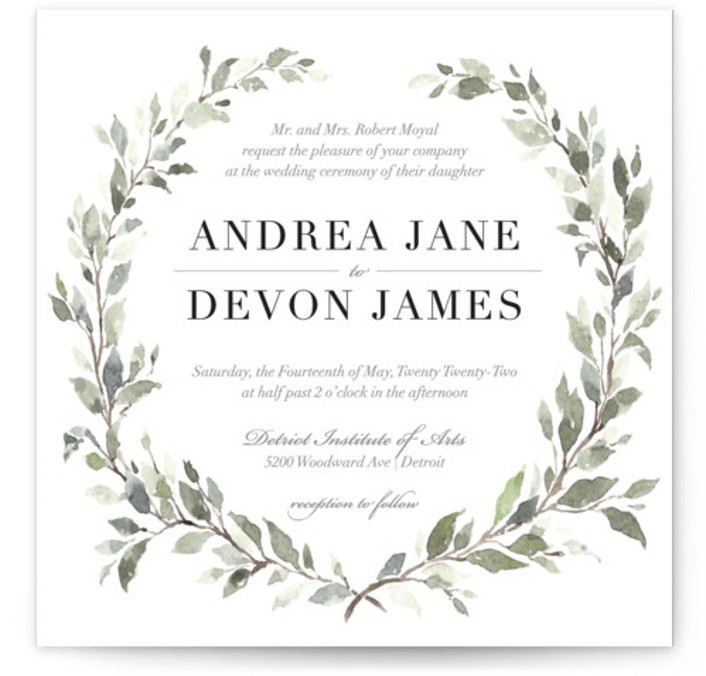 This is a white wedding invitation by Blushed Design called Watercolor Wreath with standard printing on signature in standard.
