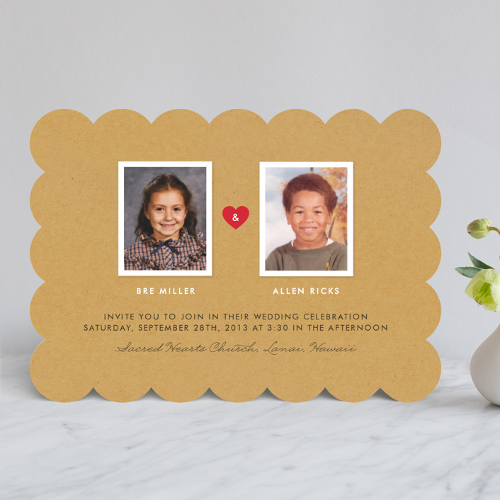 """Textbook Love Story"" - Simple, Whimsical & Funny Wedding Invitations in Kraft by root beer float."