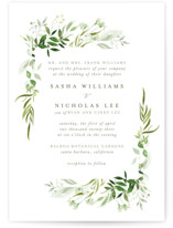 This is a green wedding invitation by Leah Bisch called Verdure with standard printing on signature in standard.