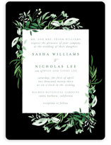 This is a black wedding invitation by Leah Bisch called Verdure with standard printing on signature in standard.