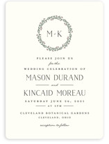 This is a beige wedding invitation by Chris Griffith called Wreath of Laurels with standard printing on signature in standard.
