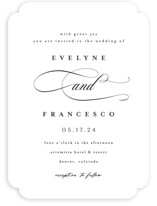 This is a white wedding invitation by chocomocacino called Blancmange with standard printing on signature in standard.