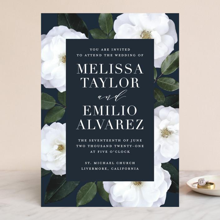 """Heirloom Roses"" - Wedding Invitations in Ebony by Jill Means."