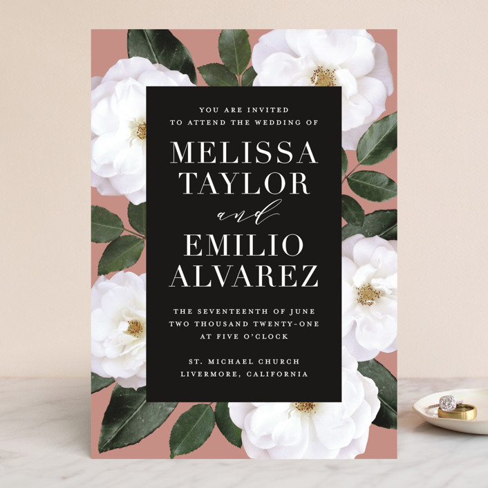 """Heirloom Roses"" - Wedding Invitations in Ebony by Jill Means."