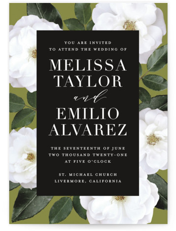 This is a portrait botanical, painterly, green Wedding Invitations by Jill Means called Heirloom Roses with Standard printing on Signature in Classic Flat Card format. Classic Black and White block of type with a border of heirloom white roses.