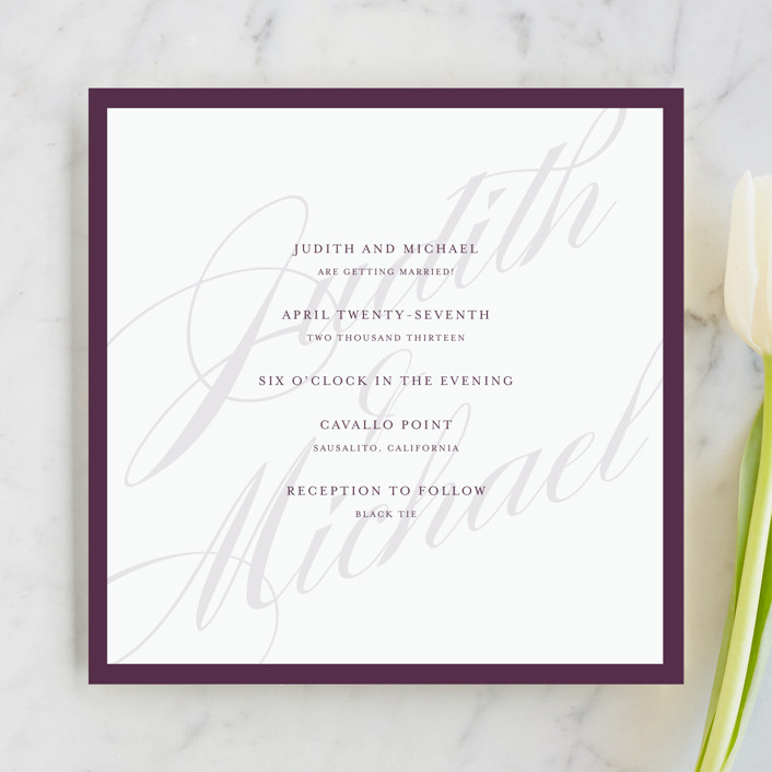framed preppy wedding invitations in plum by roxy - Framed Wedding Invitation