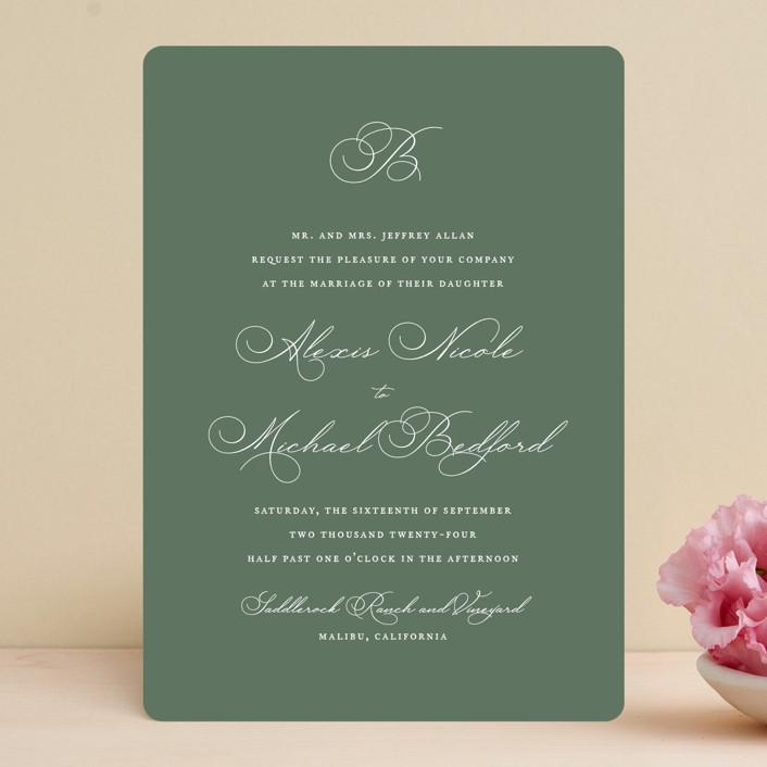 """Initial"" - Wedding Invitations in Sage by Jennifer Postorino."