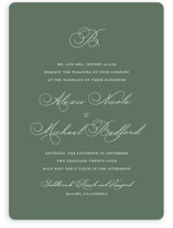 This is a green wedding invitation by Jennifer Postorino called Initial with standard printing on signature in standard.