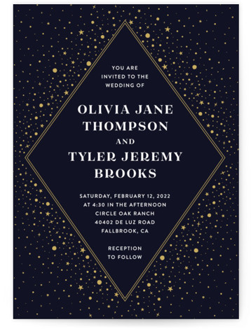 This is a portrait bohemian, blue, yellow Wedding Invitations by katrina gem called Magical day with Standard printing on Signature in Classic Flat Card format. A modern wedding invitation inspired by the night sky.