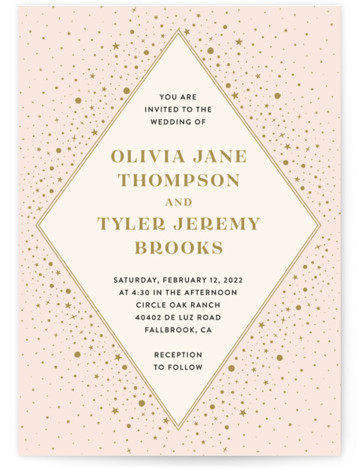This is a portrait bohemian, pink, yellow Wedding Invitations by katrina gem called Magical day with Standard printing on Signature in Classic Flat Card format. A modern wedding invitation inspired by the night sky.