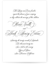 This is a black and white wedding invitation by Design Lotus called Legacy with standard printing on signature in standard.