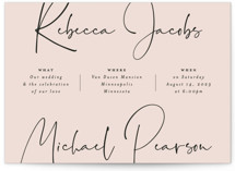 This is a pink wedding invitation by Michelle Taylor called Eternity Script with standard printing on signature in standard.