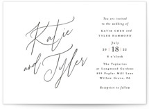 This is a white wedding invitation by Jennifer Wick called Tallulah with standard printing on signature in standard.