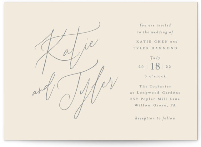 This is a landscape bold and typographic, classic and formal, simple and minimalist, beige Wedding Invitations by Jennifer Wick called Tallulah with Standard printing on Signature in Classic Flat Card format. An understated, yet updated classic design with beautiful hand ...