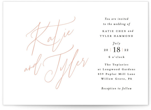 This is a landscape bold and typographic, classic and formal, simple and minimalist, pink Wedding Invitations by Jennifer Wick called Tallulah with Standard printing on Signature in Classic Flat Card format. An understated, yet updated classic design with beautiful hand ...