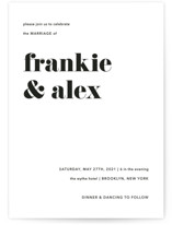 This is a black and white wedding invitation by JoAnn Jinks called Letters with standard printing on signature in standard.