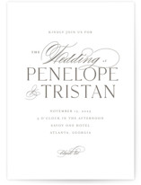 This is a grey wedding invitation by chocomocacino called calisson with standard printing on signature in standard.