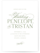 This is a green wedding invitation by chocomocacino called calisson with standard printing on signature in standard.