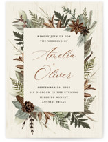 This is a beige wedding invitation by Susan Moyal called Woodland Garden with standard printing on signature in standard.