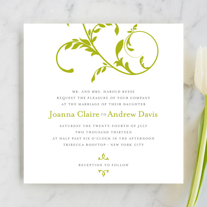 """""""Bloom"""" - Floral & Botanical, Classical Wedding Invitations in Leafy Green by The AV Design Factory."""