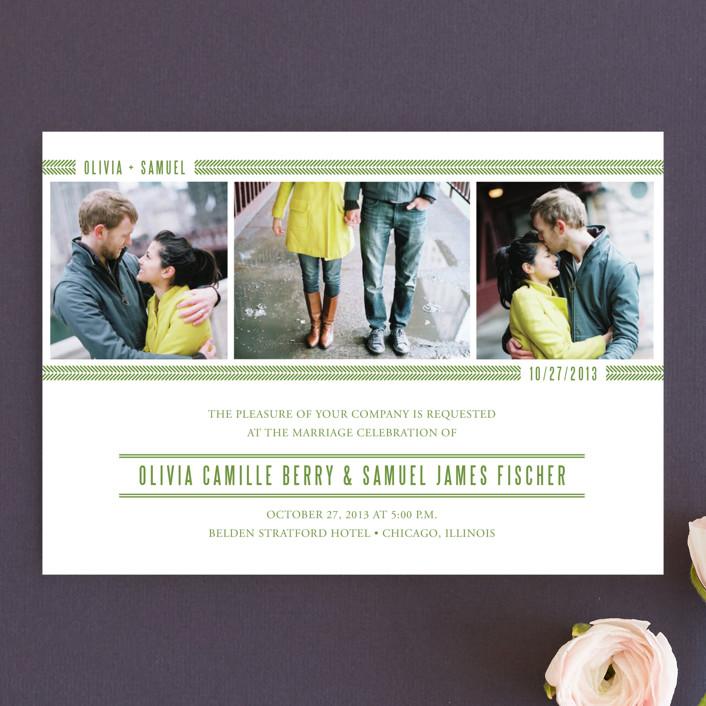 """Metro Green Line"" - Modern Wedding Invitations in Apple Green by sarasponda."