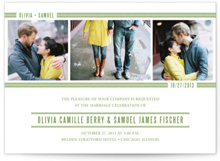 Metro Green Line Wedding Invitations