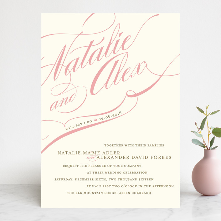 """Winter Flourish"" - Elegant, Formal Wedding Invitations in Petal Pink by annie clark."
